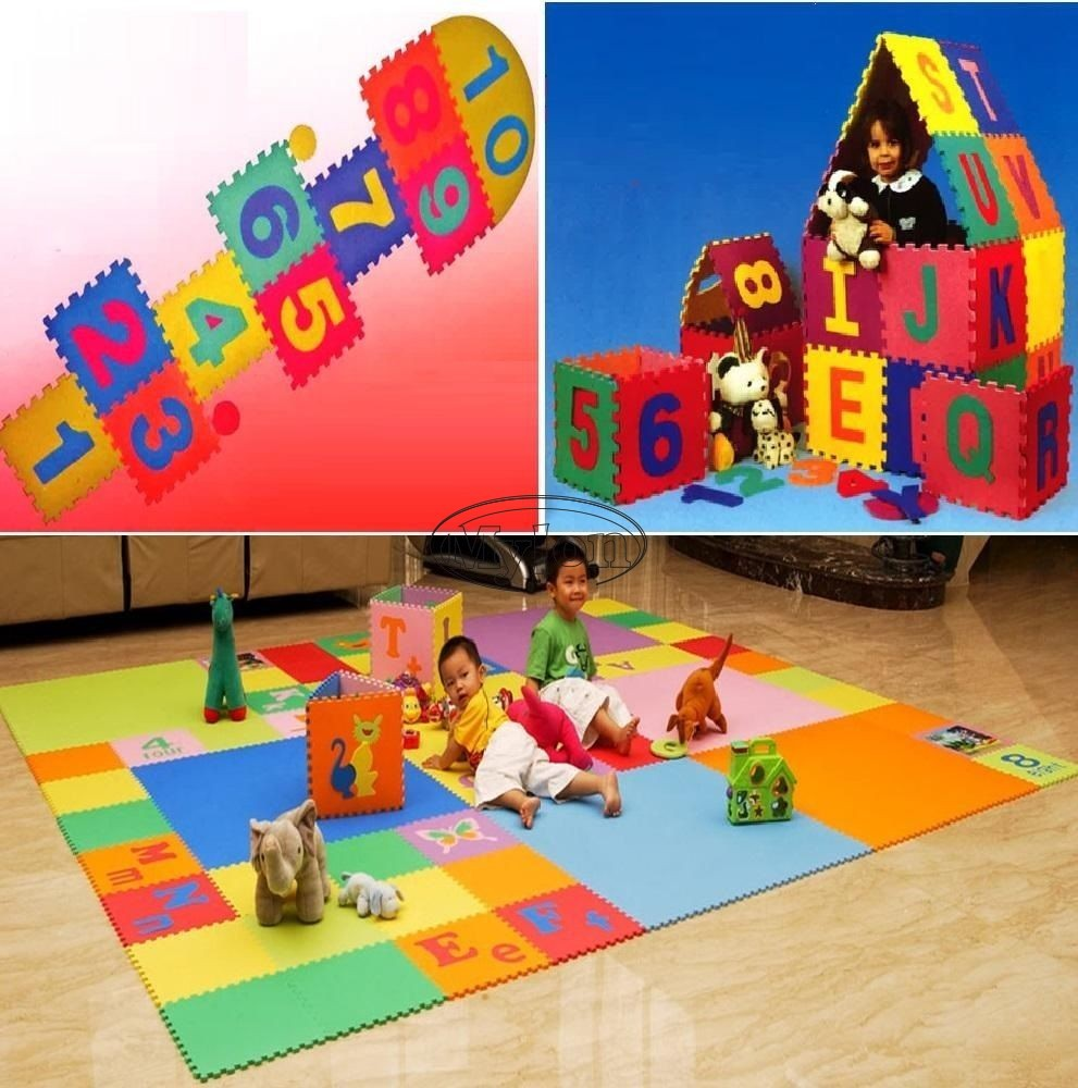 Rubber floor mats baby - Eva Puzzle Mat For Baby And Kids 12 Mm Thick 10 Pieces Soft Foam Mat Playmat